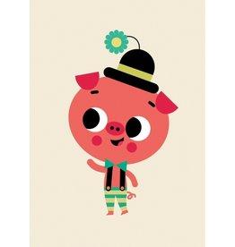 Petit Monkey Postcard Pig