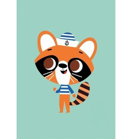 Petit Monkey Postcard Raccoon