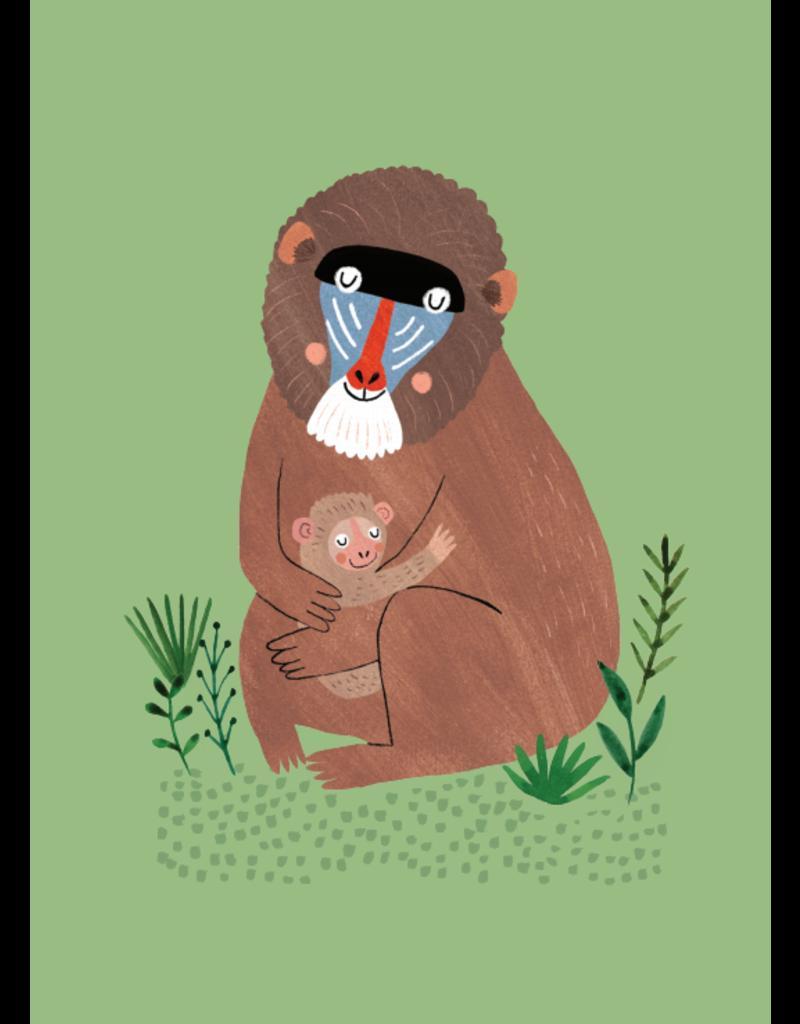 Petit Monkey Postcard Mandril and cub