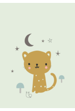 Petit Monkey Postcard Leopard mint