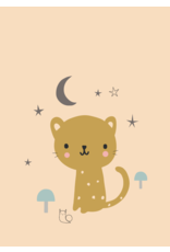 Petit Monkey Postcard Leopard peach