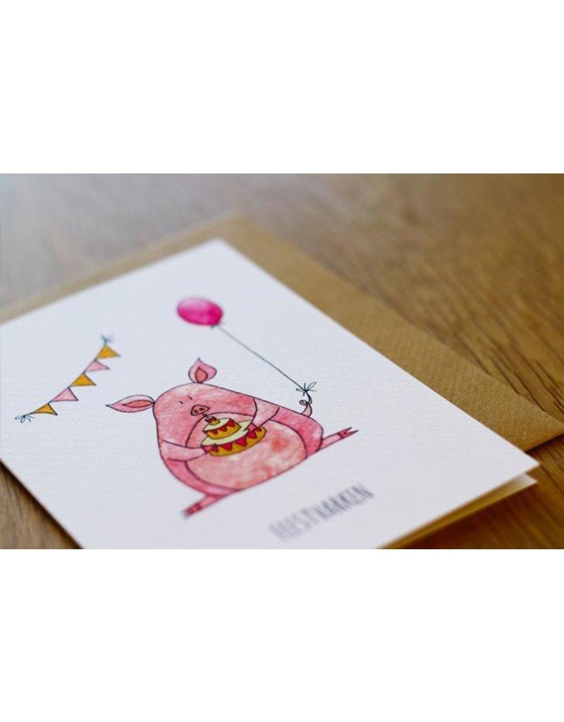 Juulz Illustrations & Design Gevouwen kaart - Feestvarken