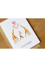 Juulz Illustrations & Design Gevouwen kaart - Hallo klein wonder giraffen