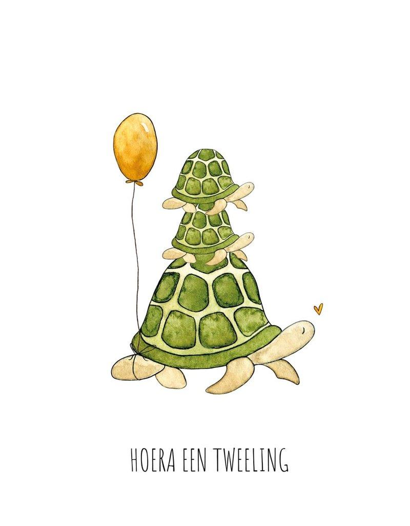 Juulz Illustrations & Design Gevouwen kaart - Hoera een tweeling