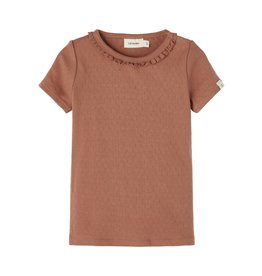 Lil' Atelier Short Sleeve Slim Top Carob Brown