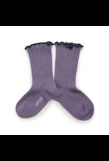 Collégien Delphine - Lettuce Trim Ribbed Socks - Fleur de Lavande