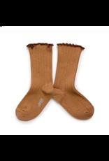Collégien Delphine - Lettuce Trim Ribbed Socks - Caramel au Beurre Salé