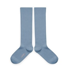 Collégien La Haute - Ribbed Knee-high Socks - Bleu Azur