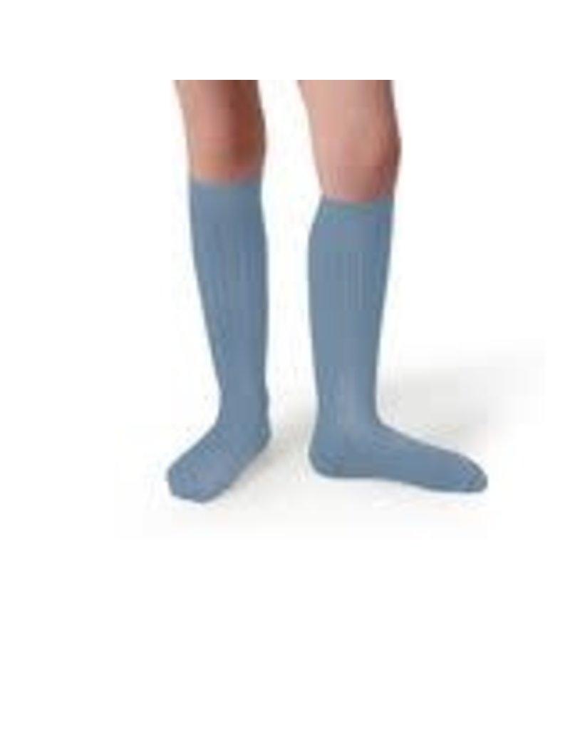Collégien La Haute - Ribbed Knee-high Socks - Bleu Azur