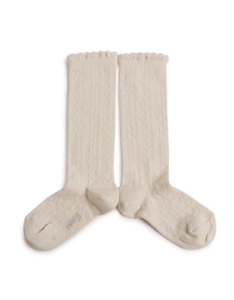Collégien Juliette - Pointelle Organic Cotton Knee-high Socks - Doux Agneaux
