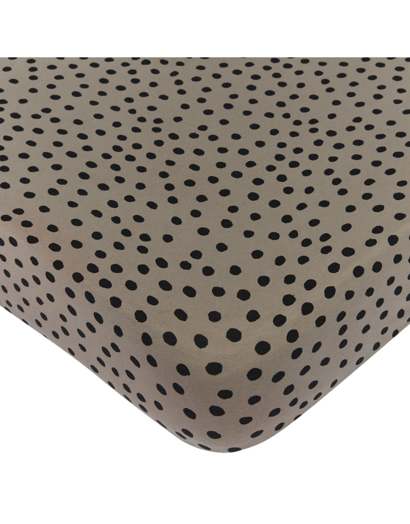 Mies & Co Fitted sheet toddler bed bold dots dark brown