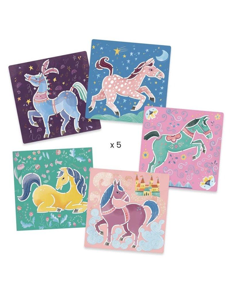 Djeco Tekensjablonen Paarden