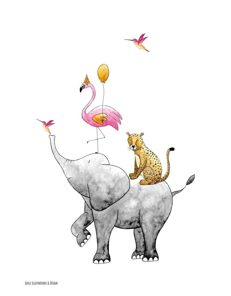 Juulz Illustrations & Design Poster Stapeldieren Roze