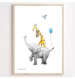 Juulz Illustrations & Design Poster stapeldieren blauw