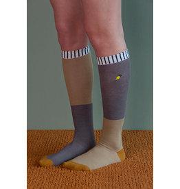 Sticky Lemon Knee high socks - duotone - woody green + pigeon blue