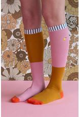 Sticky Lemon Knee high socks - duotone - dusty pink + dijon