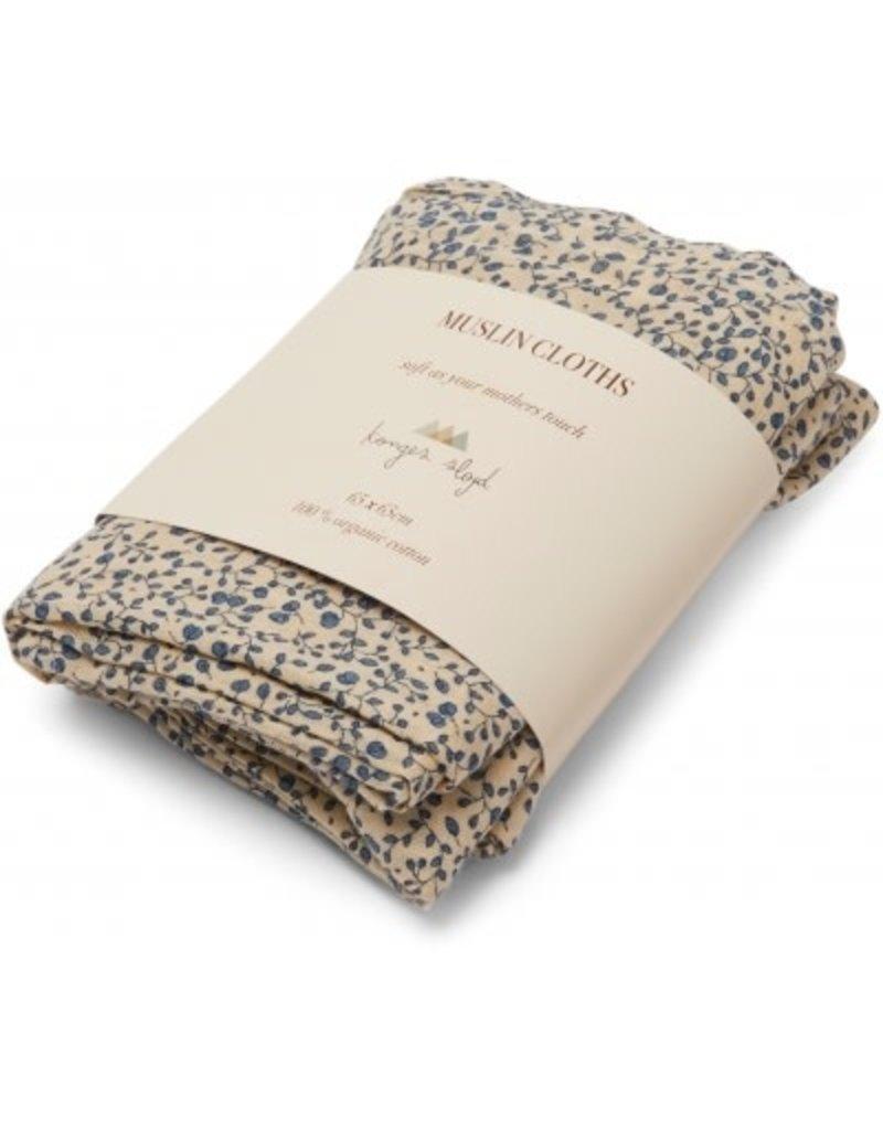 Konges Sløjd 3 Pack Muslin Cloth Blue Blossom Mist