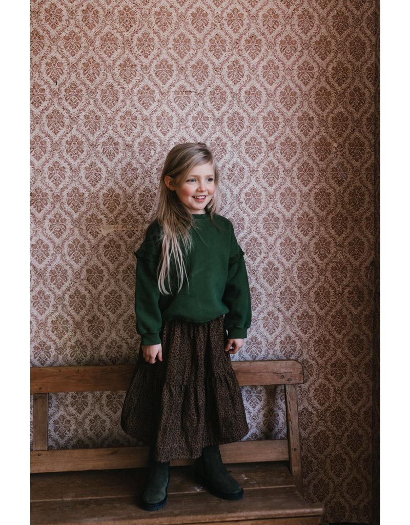 Petit Blush Sweater Ruffle Embroidery Mist Green