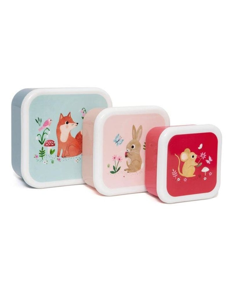 Petit Monkey Lunchbox set woodland stone blue