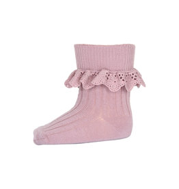 mp Denmark Lea socks with lace Wood Rose 188