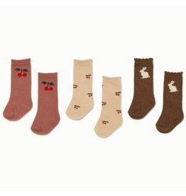 Konges Sløjd 3 Pack Jacquard Socks Cherry/Bunny