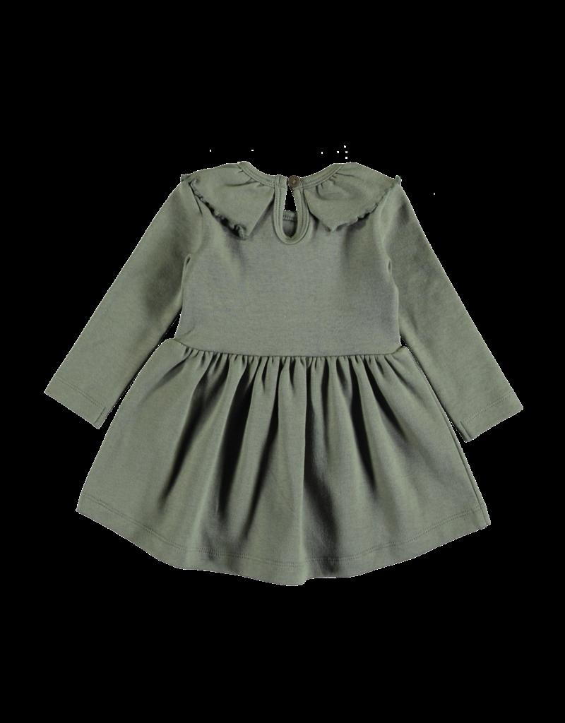 Pexi Lexi Dress Ruffle Neck Algave Green