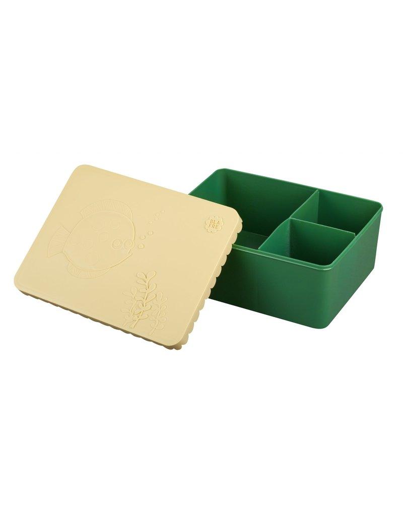 Blafre Lunch box 3 compartimenten sea life beige+dark green