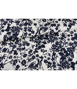 Signature Linnen-viscose Navy Flowers