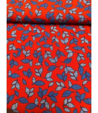 A La Ville COUPON 90 CM Viscose Leaves Red & Blue