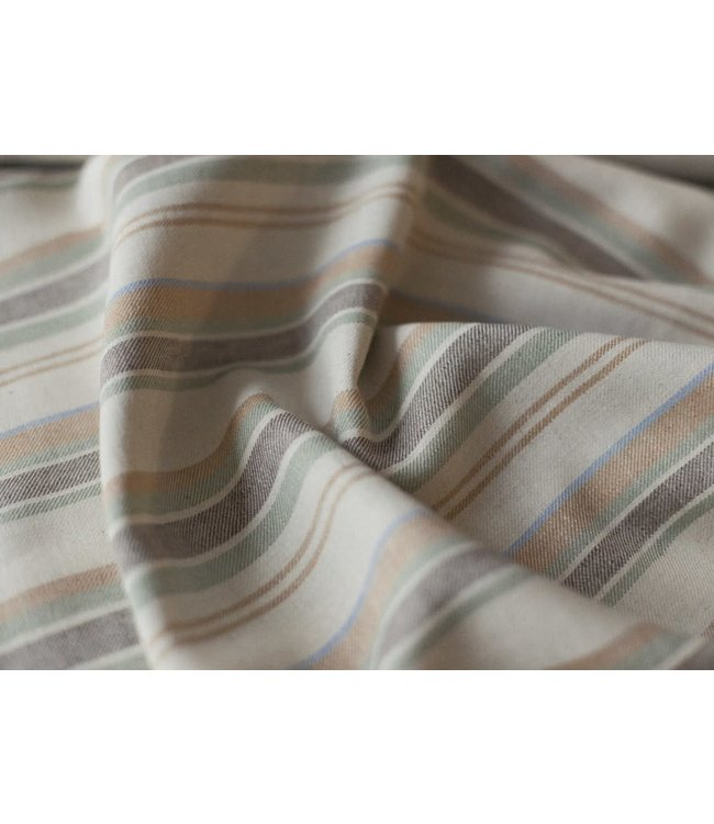 A La Ville Linnen-viscose Stripes Brown & Yellow