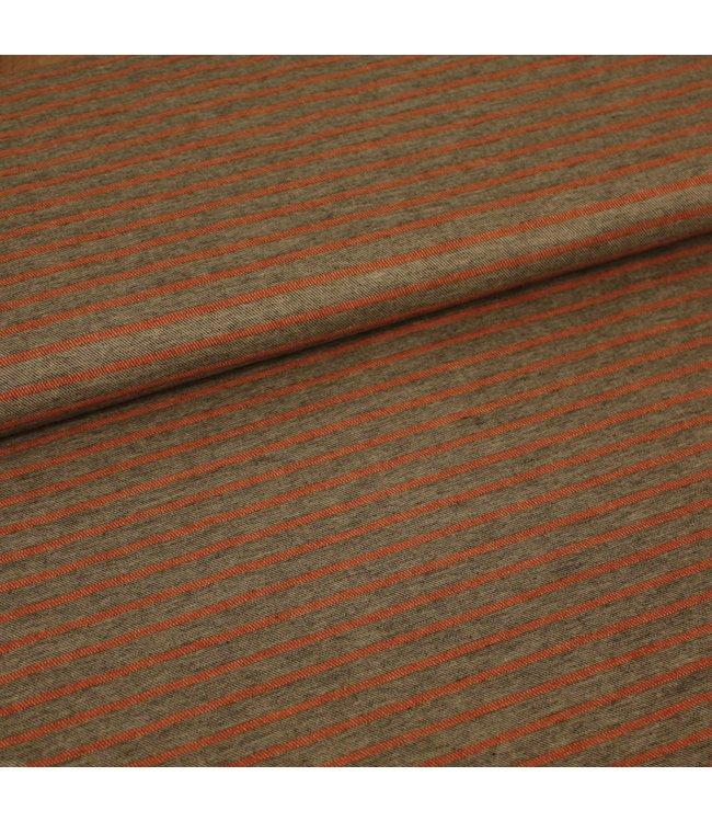 Signature Katoen streep grijs/roest