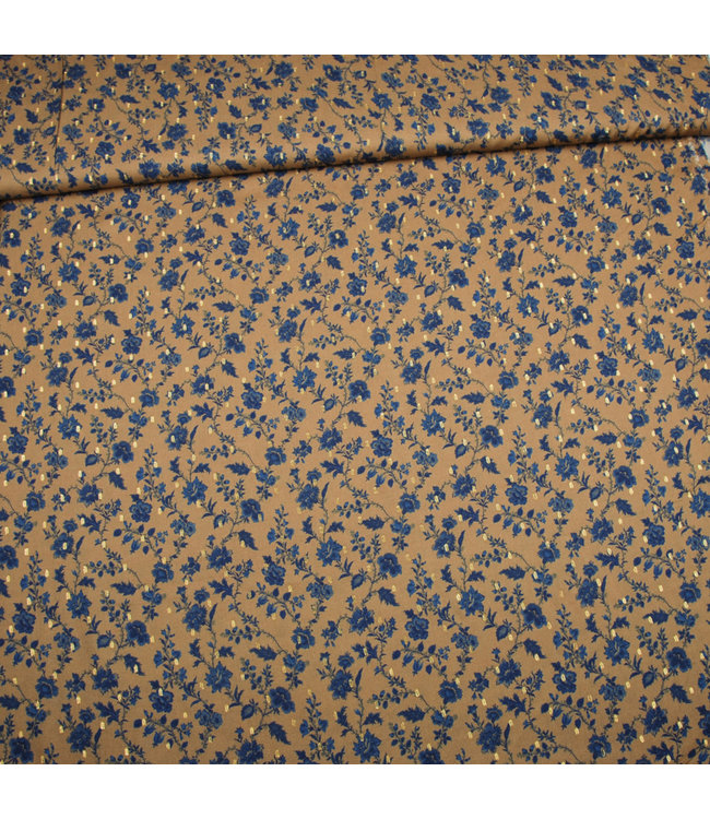 Viscose Gold Plumetti Flowers Ochre Brown