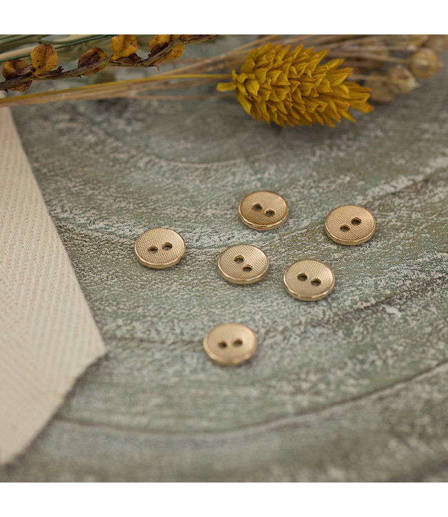 See You At Six Button Metal Texture Soft Gold
