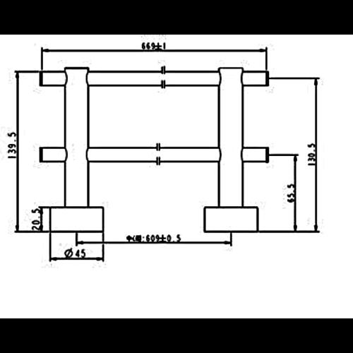 Plieger Plieger Murcia handdoekhouder RVS 60 cm dubbel Inox