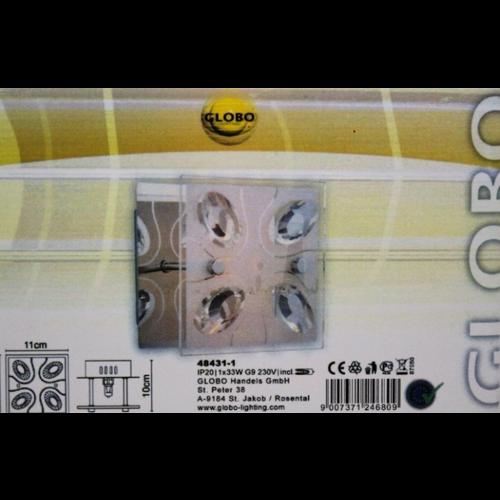 Globo PHINO Wandlamp | Chroomlook met satijnen patroon | incl 1x G9 33W Halogeen