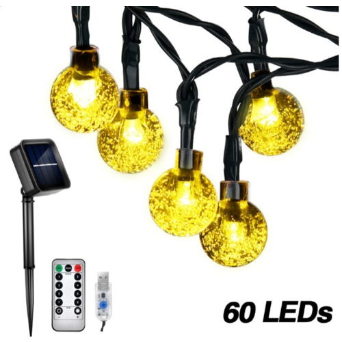 Outletshoponline.nl USB Lichtsnoer 60 LEDs Ø 2 cm warm wit - solar zonne-energie - 10 meter - afstandsbediening 8 standen en dimfunctie - IP65 - buiten en binnen verlichting - tuinverlichting - feestverlichting - kerstverlichting