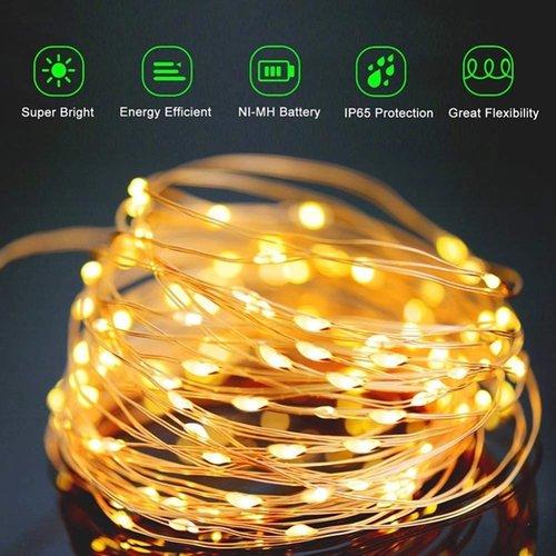Outletshoponline.nl Lichtsnoer 100 felle LED lampjes 12 meter - warm wit - Solar op zonne-energie - flexibel koper draad - 8 standen – waterdicht IP65 - buiten en binnen – Tuinverlichting – Feestverlichting - Partyverlichting - Kerstverlichting