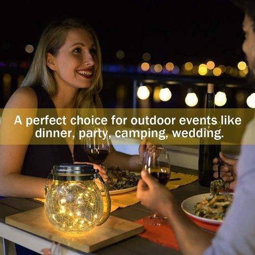 Outletshoponline.nl Solar windlicht-tuinlamp set van 4 - tuinverlichting - 3mm glas bol Ø 11cm - 20 felle LEDs warm wit - lichtduur max 8 uur - sfeerverlichting -kerstverlichting