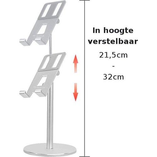 Outletshoponline.nl Telefoonhouder - Tablethouder - Universeel - Aluminium - in hoogte verstelbaar 21 -32 cm - 180 graden kantelbaar - stevige kwaliteit - Zilver