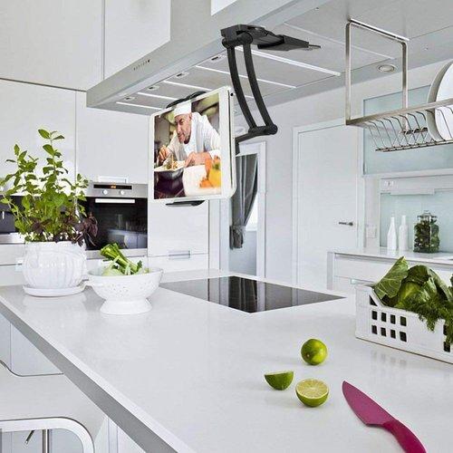 Outletshoponline.nl Tablethouder met standaard 2 in 1 - Universeel - Zwart - Lichtgewicht en stevig - Ergonomisch - compact en volledig verstelbaar - wandmontage of staand - 4.7 t/m 12 inch (11,9 - 30 cm)