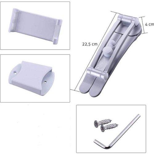 Outletshoponline.nl Tablethouder met standaard 2 in 1 - Universeel - Zilver - Lichtgewicht en stevig - Ergonomisch - compact en volledig verstelbaar - wandmontage of staand - 4.7 t/m 12 inch (11,9 - 30 cm) - Copy
