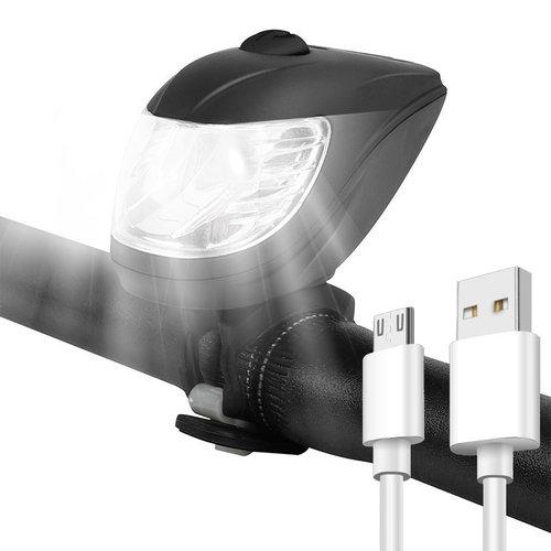 Outletshoponline.nl Fietslamp LED voorlicht - koplamp - automatische fietsverlichting - USB oplaadbaar inclusief kabel - ingebouwde sensor - 5 standen - zijlicht - veilig fietslicht