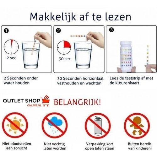 Outletshoponline.nl 7 in 1 zwembad test strips - 100 teststrips - pH Chloor Broom Cyanuurzuur Alkaliteit en Hardheid - test iedere dag de waterkwaliteit - jacuzzi - spa - hot tub - sauna - zwembad onderhoud