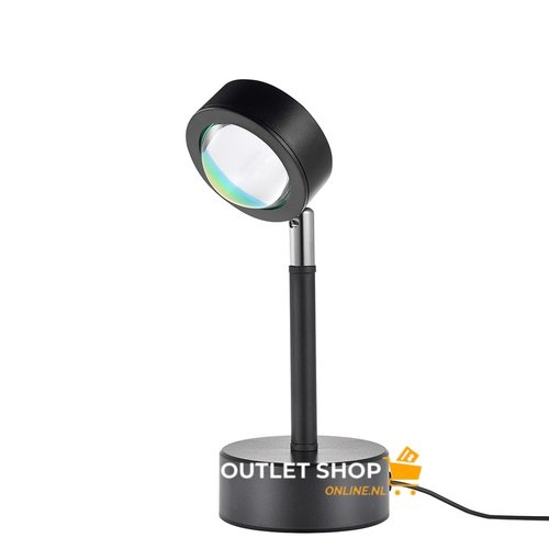 Outletshoponline.nl Sunset lamp - tafel projectielamp zonsondergang - USB kabel - geel licht - sfeerverlichting