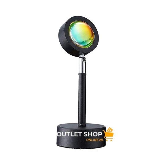 Outletshoponline.nl Sunset RAINBOW lamp - tafel projectielamp zonsondergang - USB kabel - Rainbow licht - sfeerverlichting