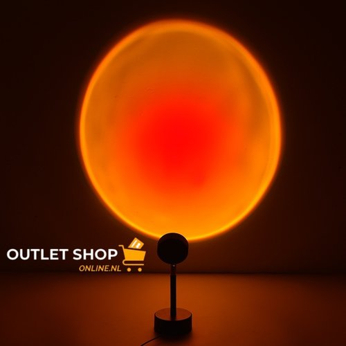 Outletshoponline.nl Sunset Red lamp - tafel projectielamp zonsondergang - USB kabel - rood-geel licht - sfeerverlichting