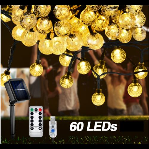 Outletshoponline.nl USB Lichtsnoer 60 LEDs Ø 2 cm multi color - solar zonne-energie - 10 meter - afstandsbediening 8 standen en dimfunctie - IP65 - buiten en binnen verlichting - tuinverlichting - feestverlichting - sfeerverlichting