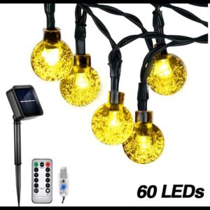 Outletshoponline.nl Lichtsnoer USB solar 60 LED 10 meter Multicolor - afstandsbediening
