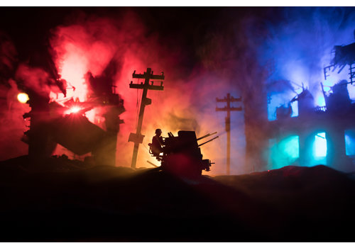 Dutch Art Explosion War in fog sky