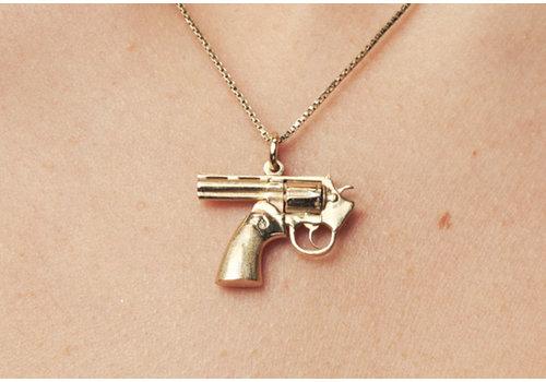 Remon van Zoggel Ketting Karma Gun -  14 KT Plated Gold